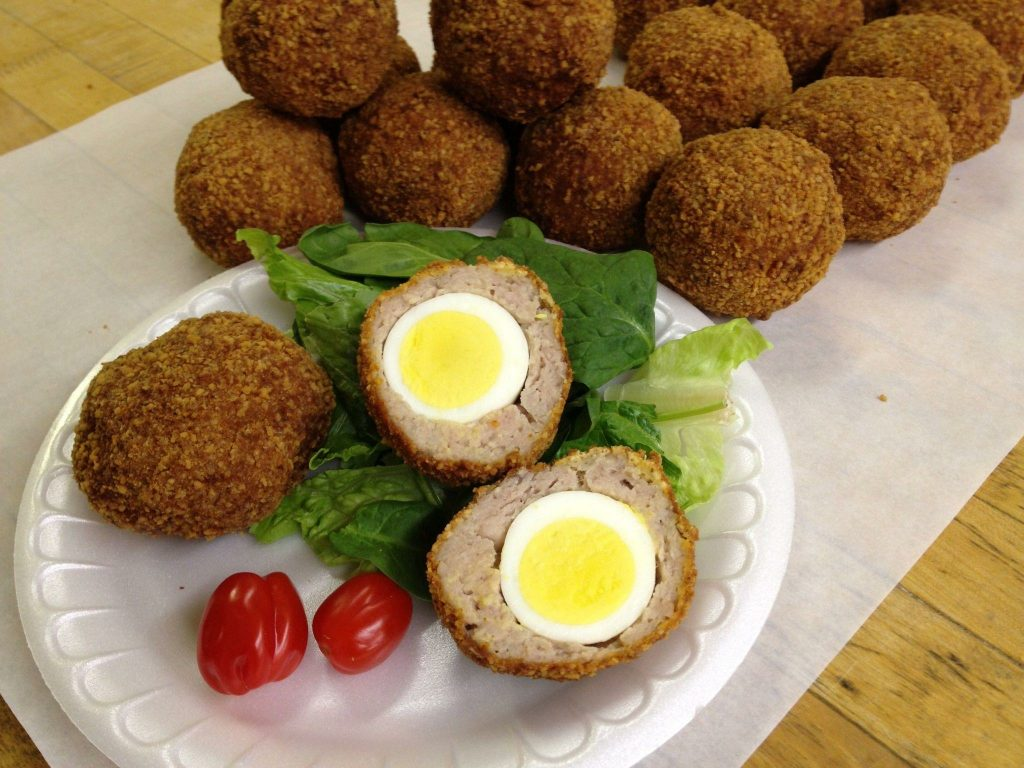 Scotch Eggs wrapped with Shannon's Sausage